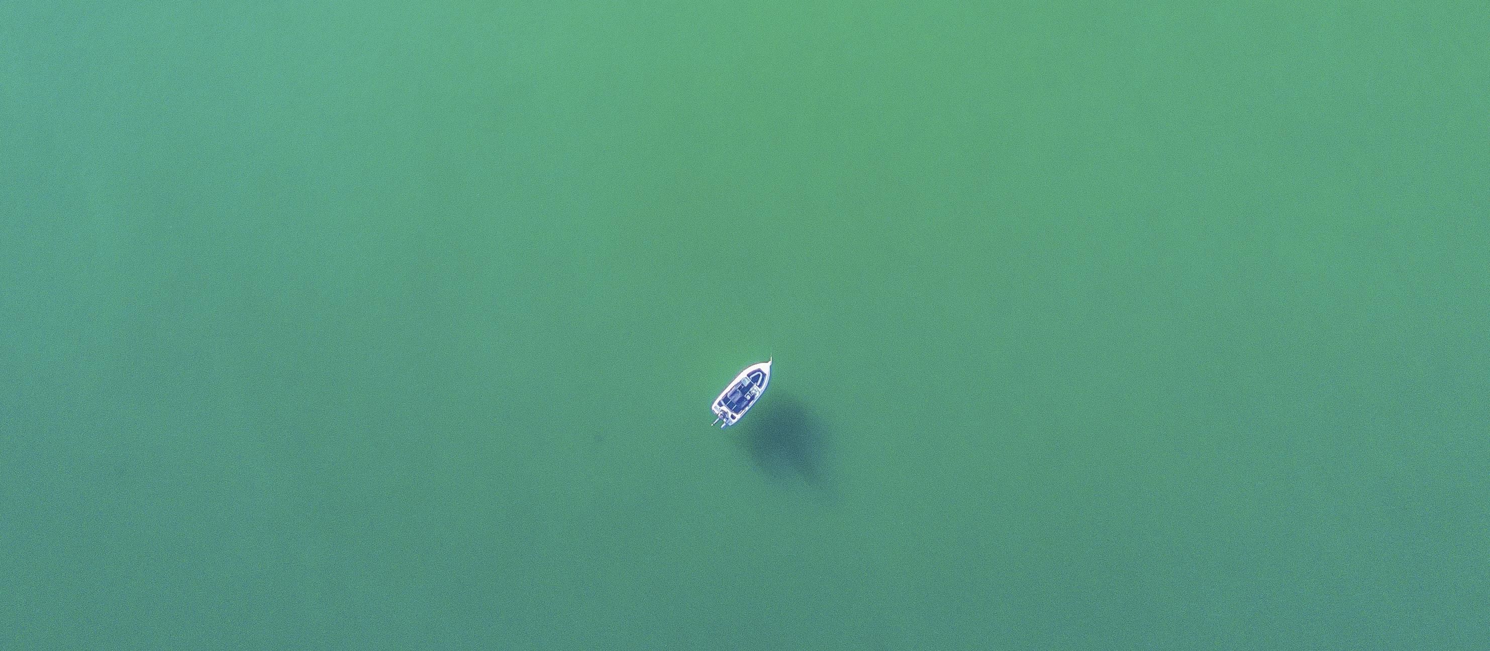 Drone view of boat in Kaeo