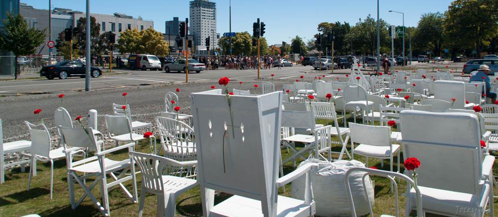 The third anniversary of the Christchurch earthquake was marked by an installation of white chairs by Peter Majendie. Each chair represents one of the 185 people who lost their lives [photo: Jocelyn Kinghorn]