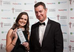 YOUNG PHARMACIST The biggest smile on the night went to Olivia Lyons with Scott Sherriff from Douglas Pharmaceuticals