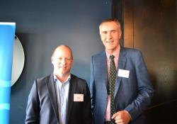 Medsafe group manager Chris James and Pharmaceutical Society president Ian McMichael